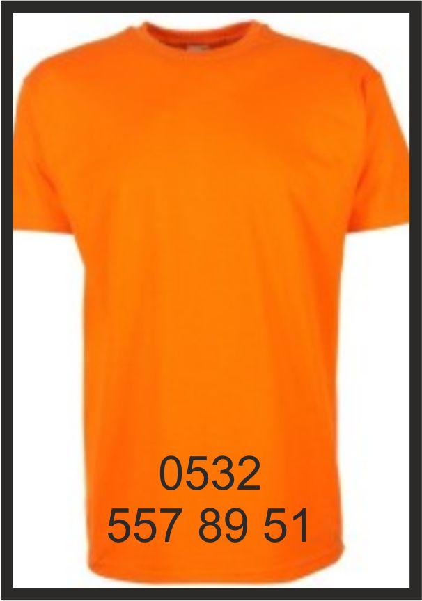 izmir tişört baski turuncu yuvarlak yaka tişörtler