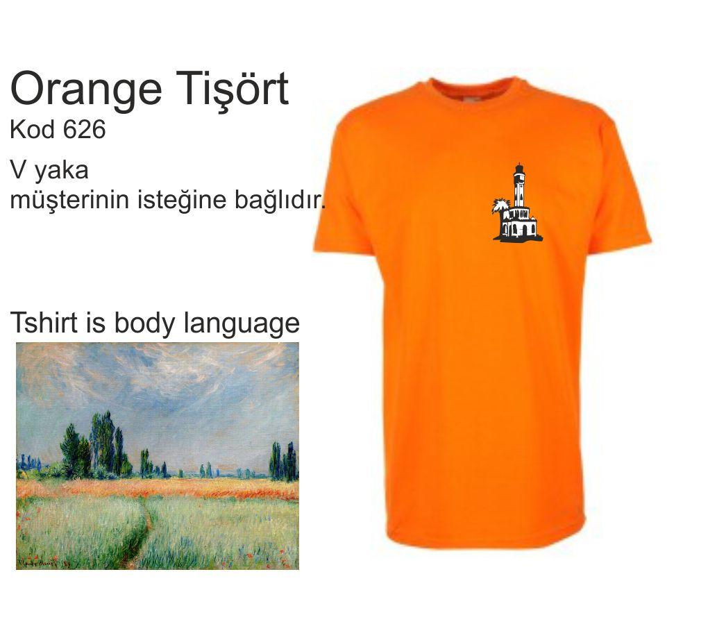 orange yuvarlak yaka tişört izmir tişört baskı merkezi